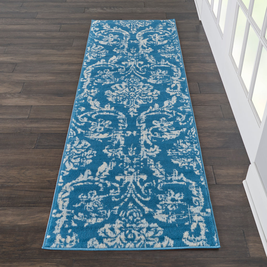 "Jubilant JUB09 Power Loomed 100% Polypropylene Blue 2'3"" x 7'3"" Runner Rug"