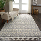 "Moroccan Shag MRS02 Power Loomed 100% Polypropylene Silver 5'3"" x 7'11"" Rectangle Rug"