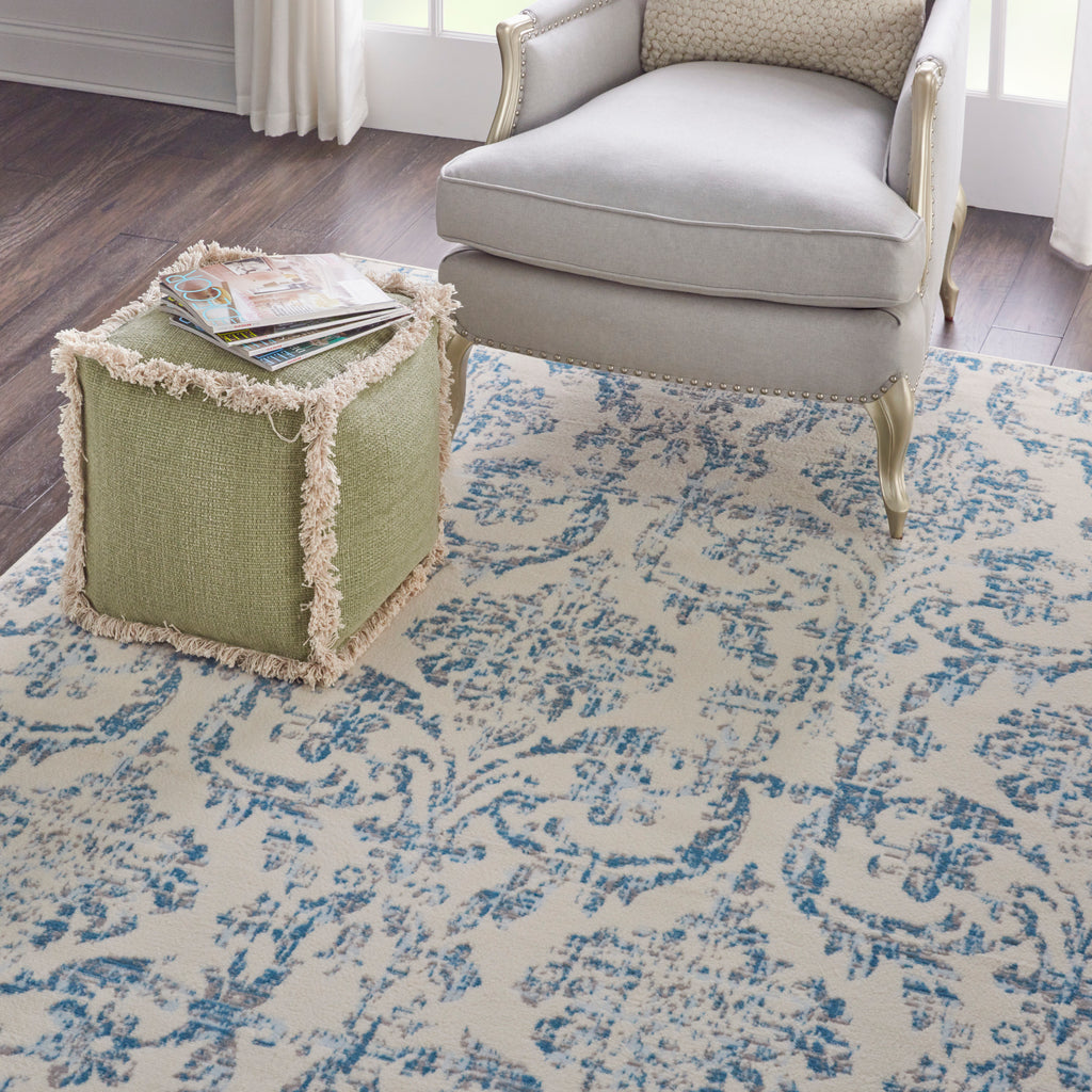"Jubilant JUB09 Power-loomed 100% Polypropylene Ivory Blue 8'6"" x 12' Rectangle Rug"