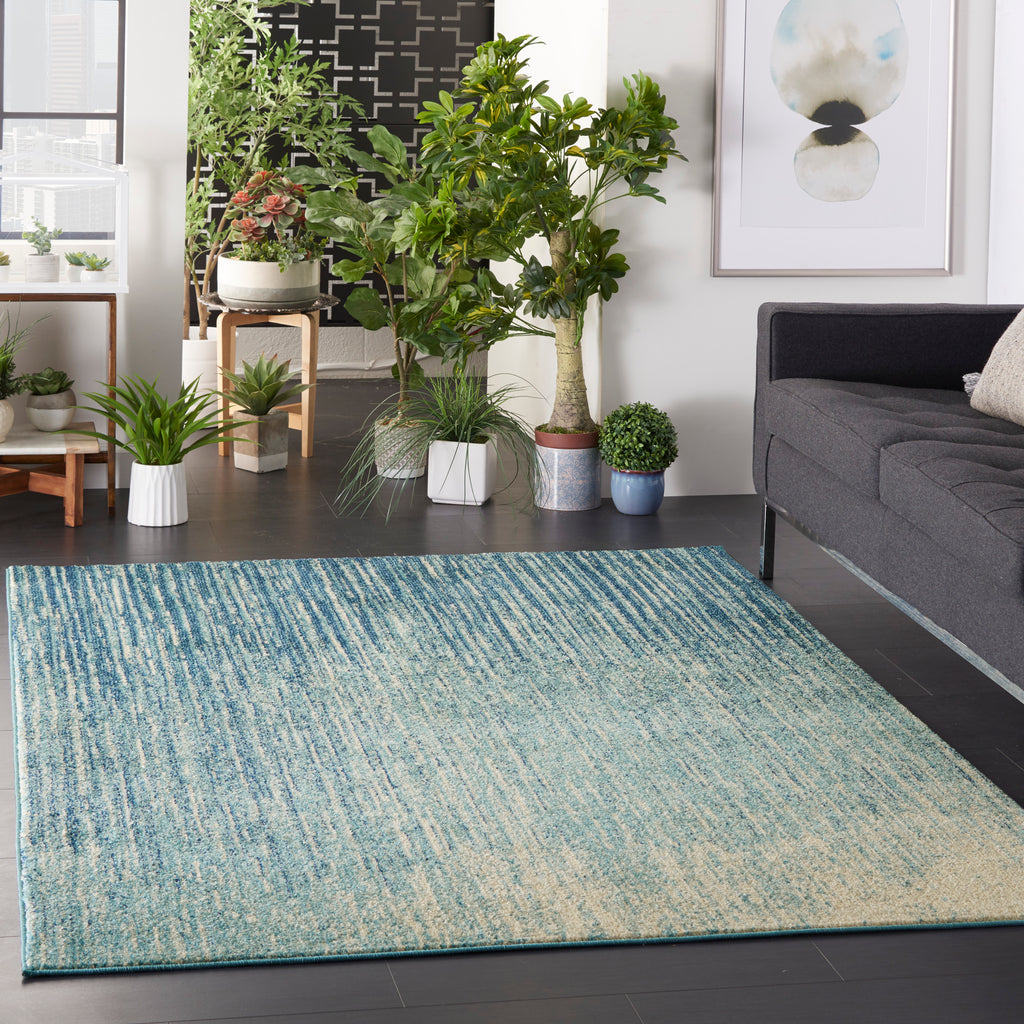 "Passion PSN09 Power Loomed 100% Polypropylene Navy/Light Blue 5'3"" x 7'3"" Rectangle Rug"