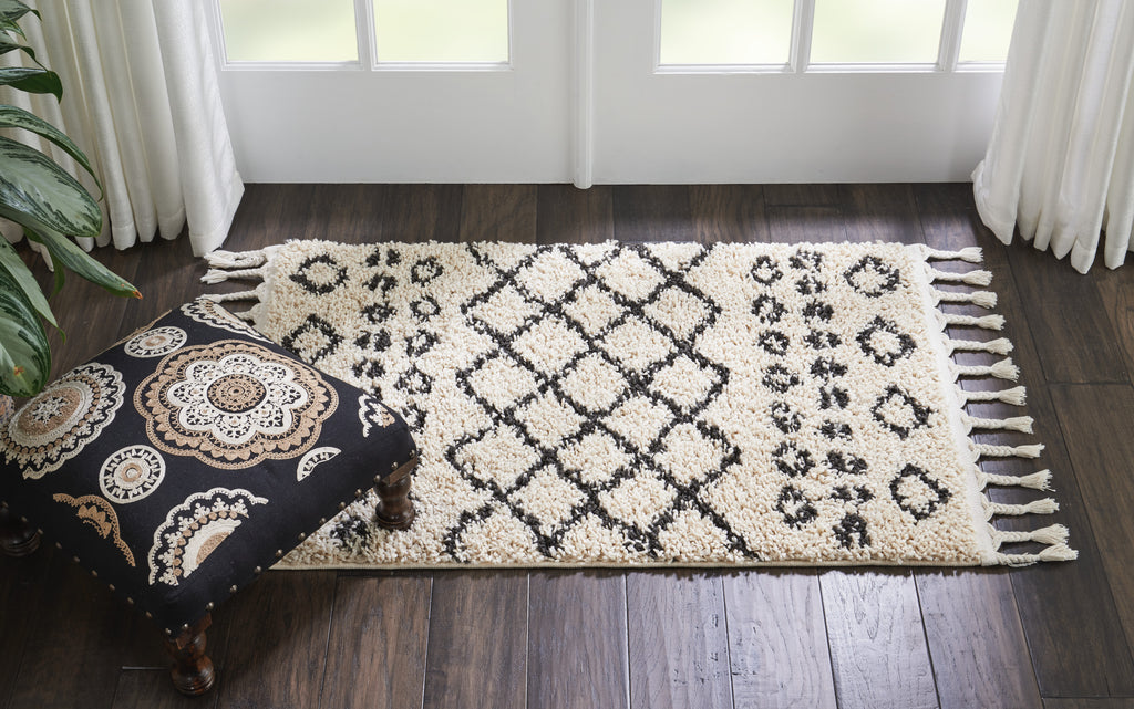 "Moroccan Shag MRS02 Power-loomed 100% Polypropylene Cream 2'2"" x 4' Rectangle Rug"