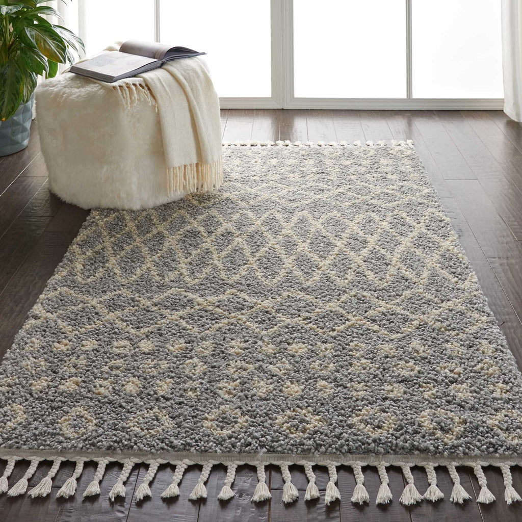 "Moroccan Shag MRS02 Power Loomed 100% Polypropylene Silver 3'11"" x 6'7"" Rectangle Rug"