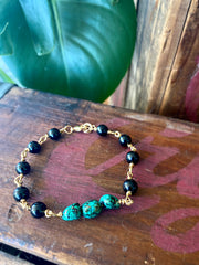 "Turquoise and Onyx ""Warrior"" Chain bracelet"