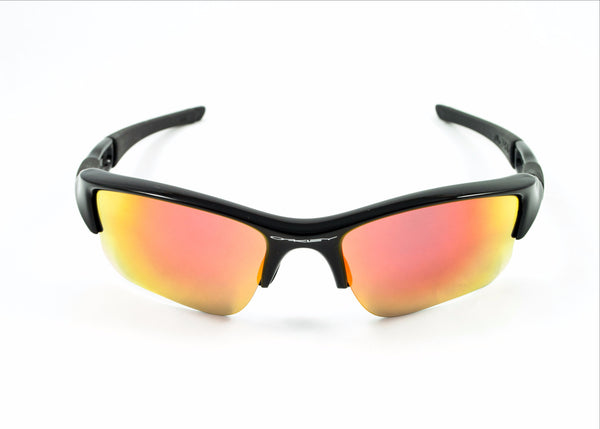 96d0e50b2d Oakley Flak Jacket XLJ Polished Black Frame with Revant Optics Fire Red Polarized  Custom Lenses