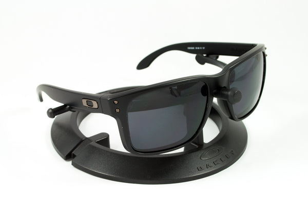oakley matte black holbrook ci2f  Oakley Holbrook Matte Black Frame with Revant Optics Stealth Black  Polarized Custom Lenses