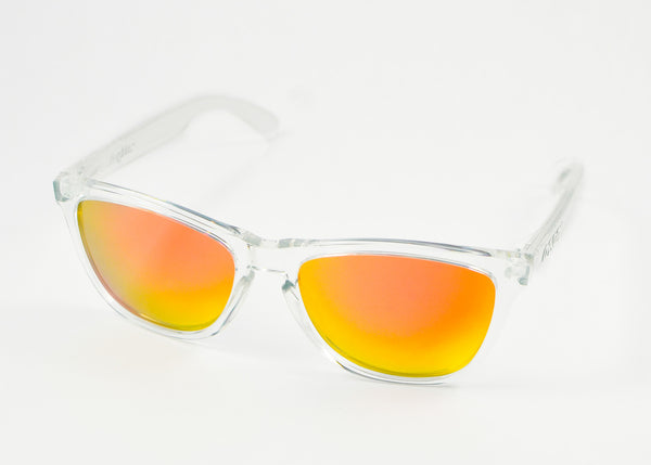 clear oakley frogskins 2ay1  Oakley Frogskin Polished Clear Frame with Revant Fire Red Lens
