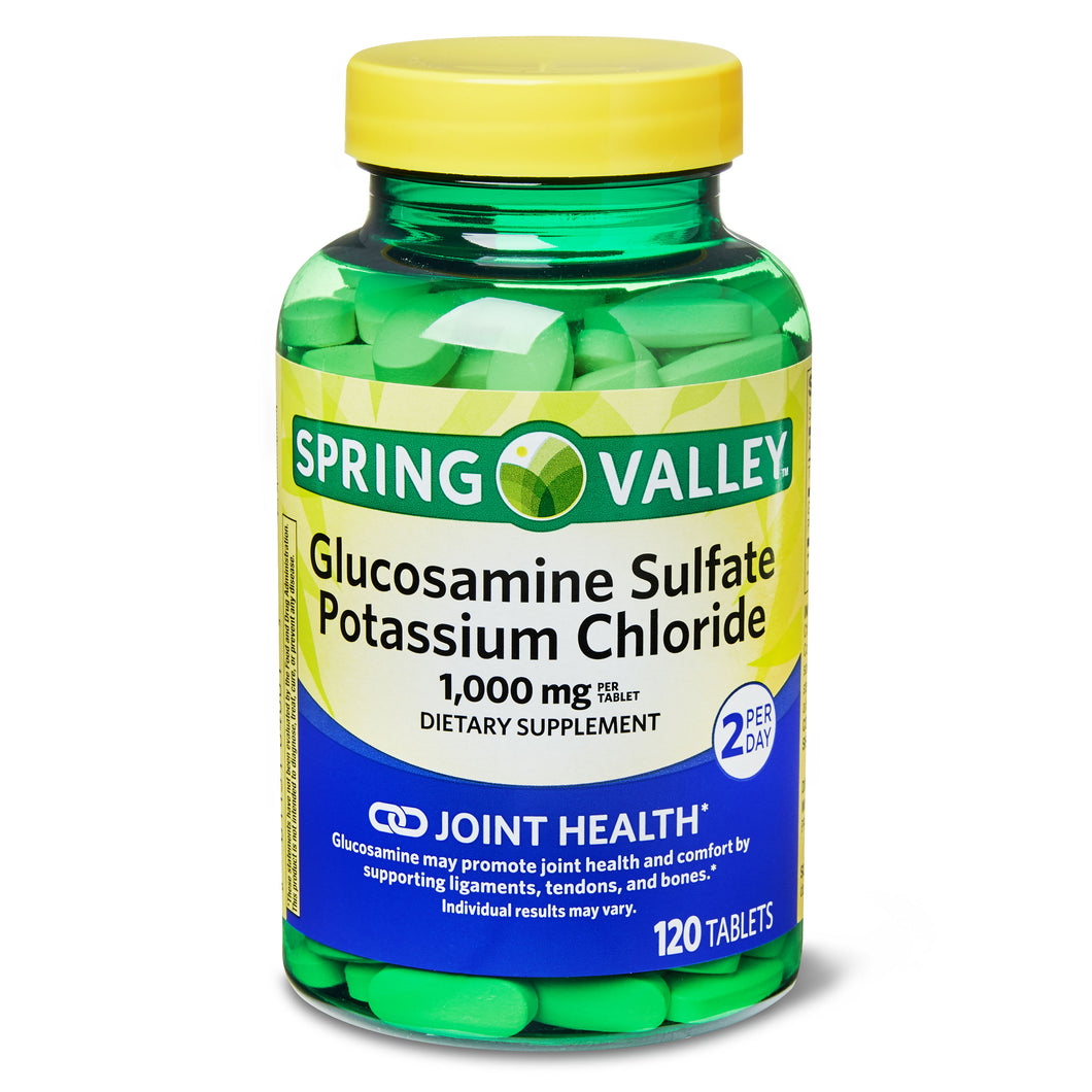 Spring Valley Glucosamine Sulfate Potassium Chloride Tablets, 1000mg, 120 Count