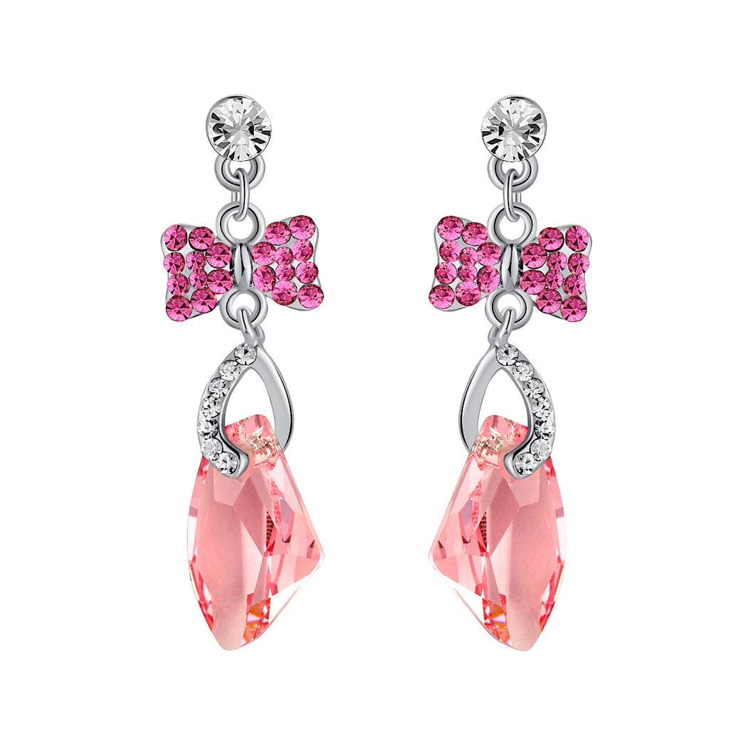 Galactic Drop Butterfly Swarovski Elements Crystal Earrings for Women - Pink