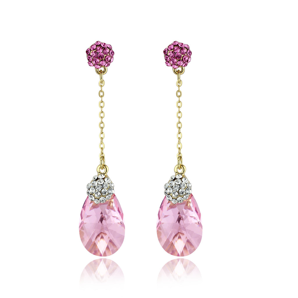Pear Drop Swarovski Elements Crystal Dangle Earrings - Rose Pink