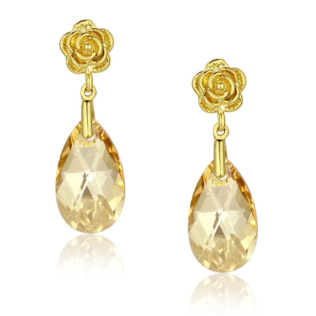 Gold Color Rose Flower Yellow Pear Drop Swarovski Elements Crystal Earrings