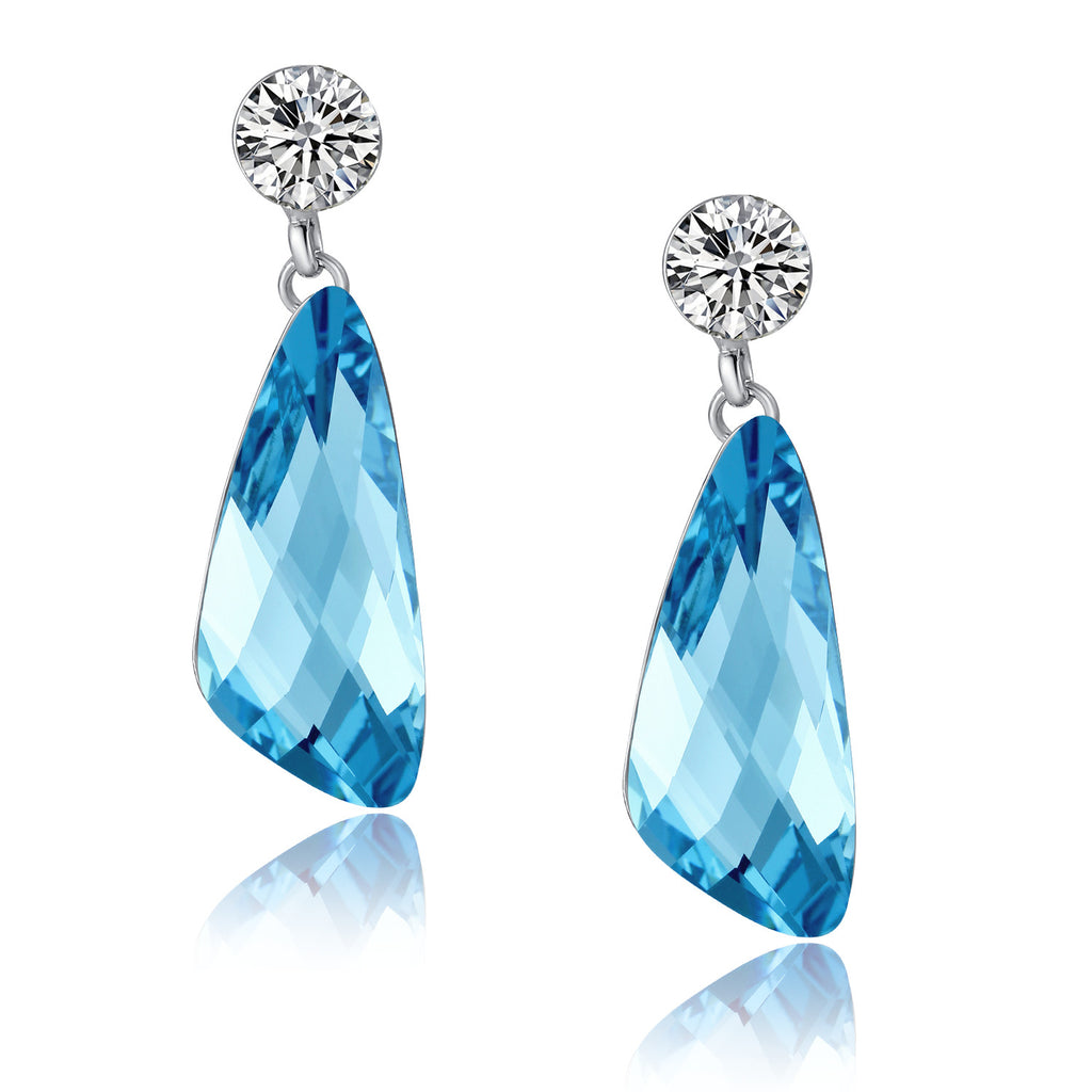 Wing Drop Swarovski Elements Crystal and Cubic Zirconia Dangle Earrings -Blue