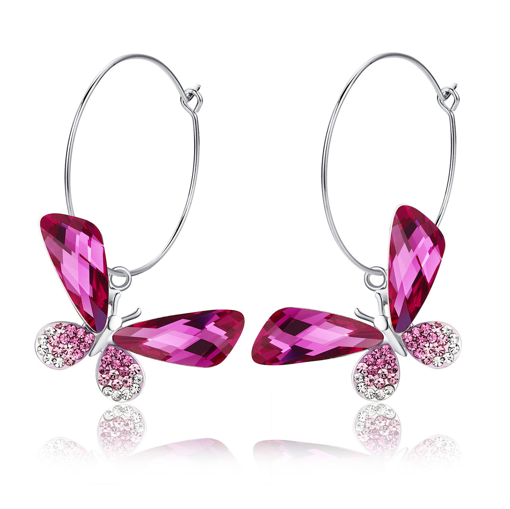 Butterfly Hoop Swarovski Elements Crystal Earrings - Pink