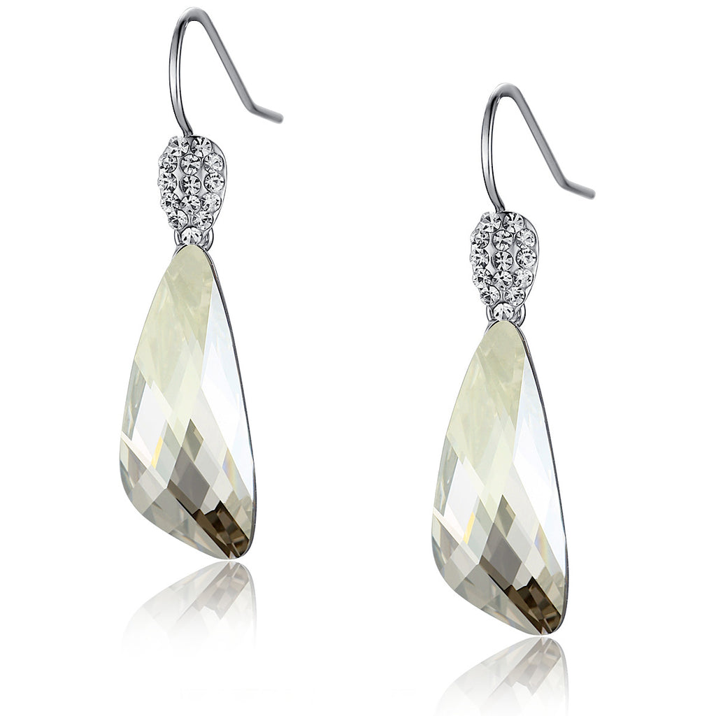 Wing Drop Swarovski Elements Crystal and Sparkling Rhinestones Earrings - Clear