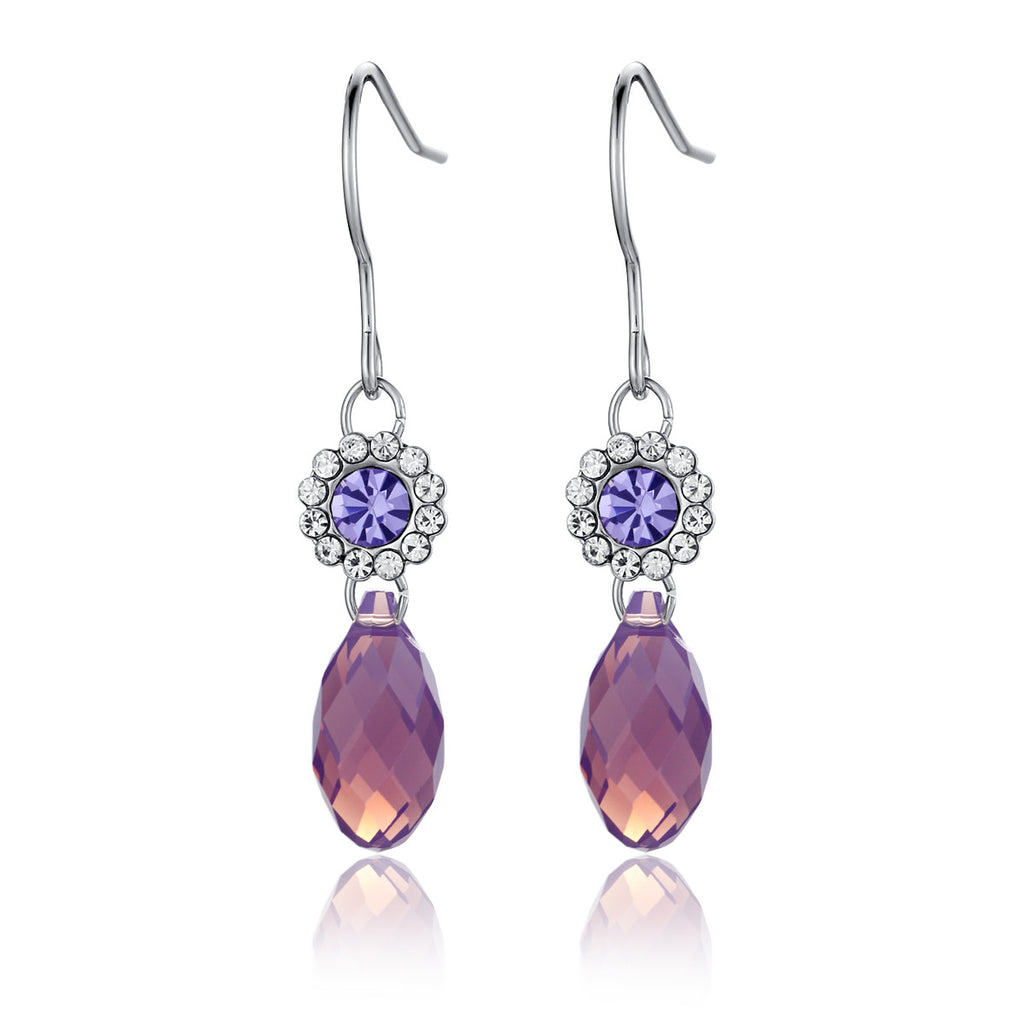Regal Rain Drop Swarovski Elements Crystal Earrings - Purple