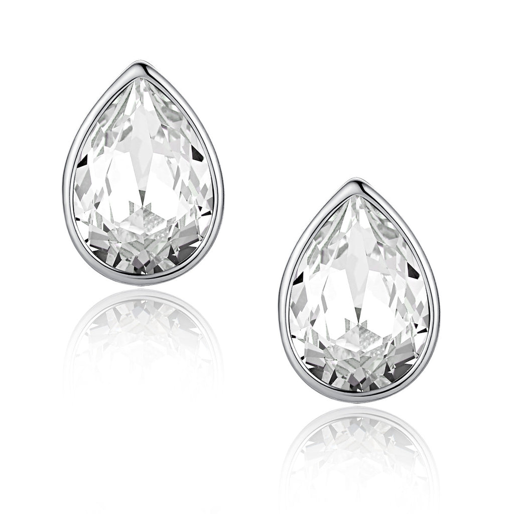 Eternal Love Teardrop Swarovski Elements Crystal Stud Earrings - Clear
