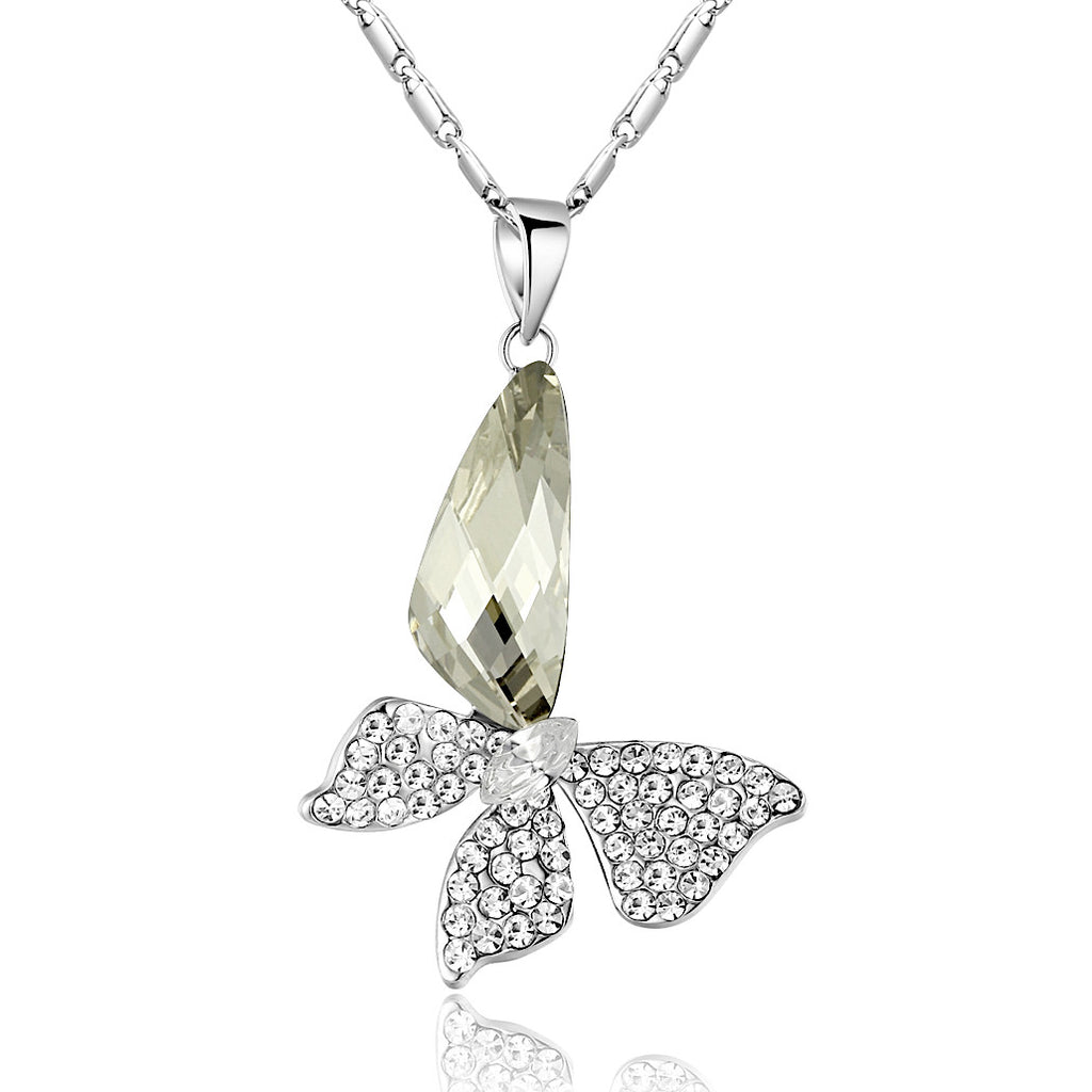 Butterfly Wing Drop Swarovski Elements Crystal Pendant Necklace - Clear