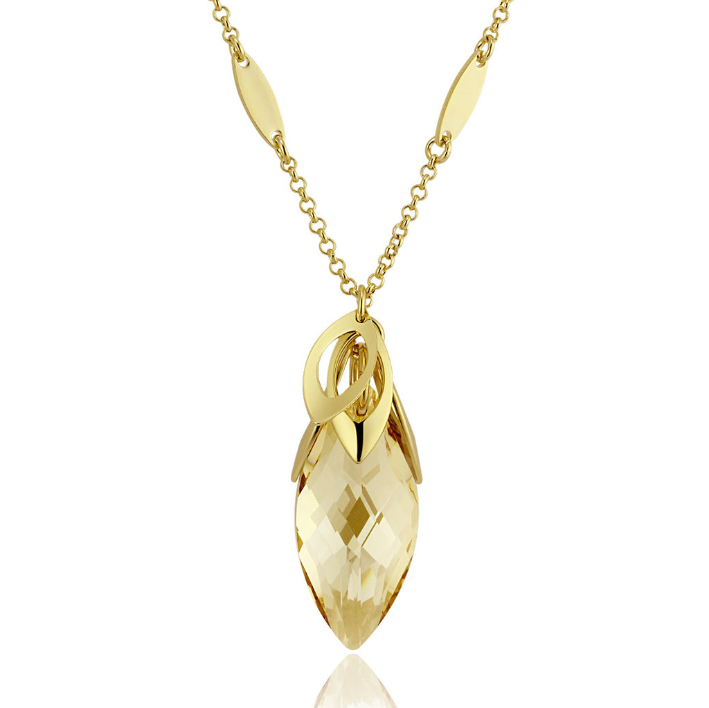 Oval Swarovski Elements Crystal Budding Flower Pendant Necklace - Yellow