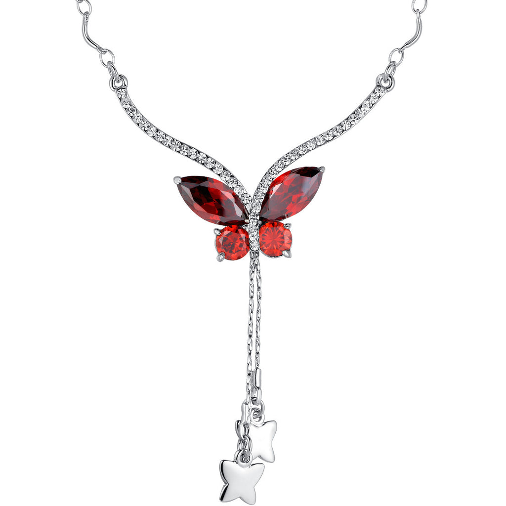 Crystal Butterfly Whimsy Necklace W. Dangling Silvery Stars - Red