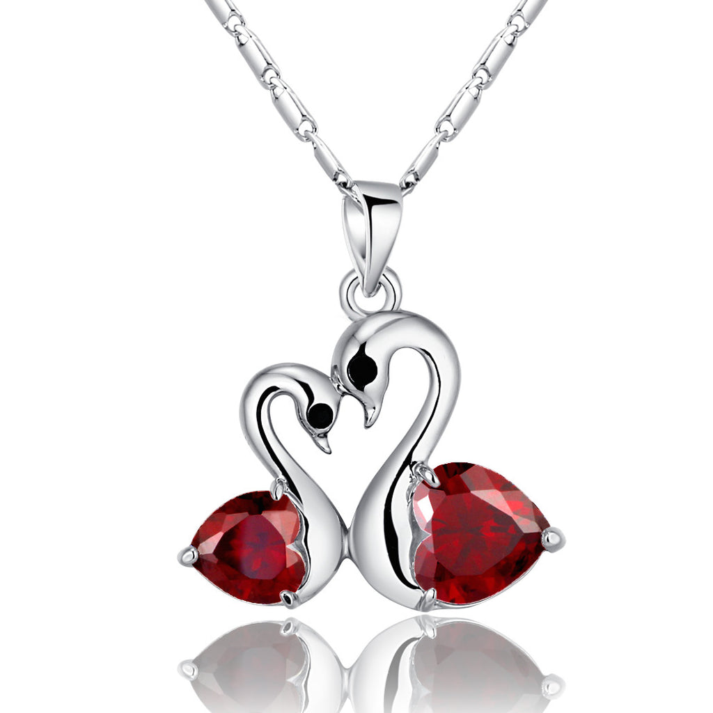 Heart Shaped Crystal Love Pair Silver Swans Necklace (Red)
