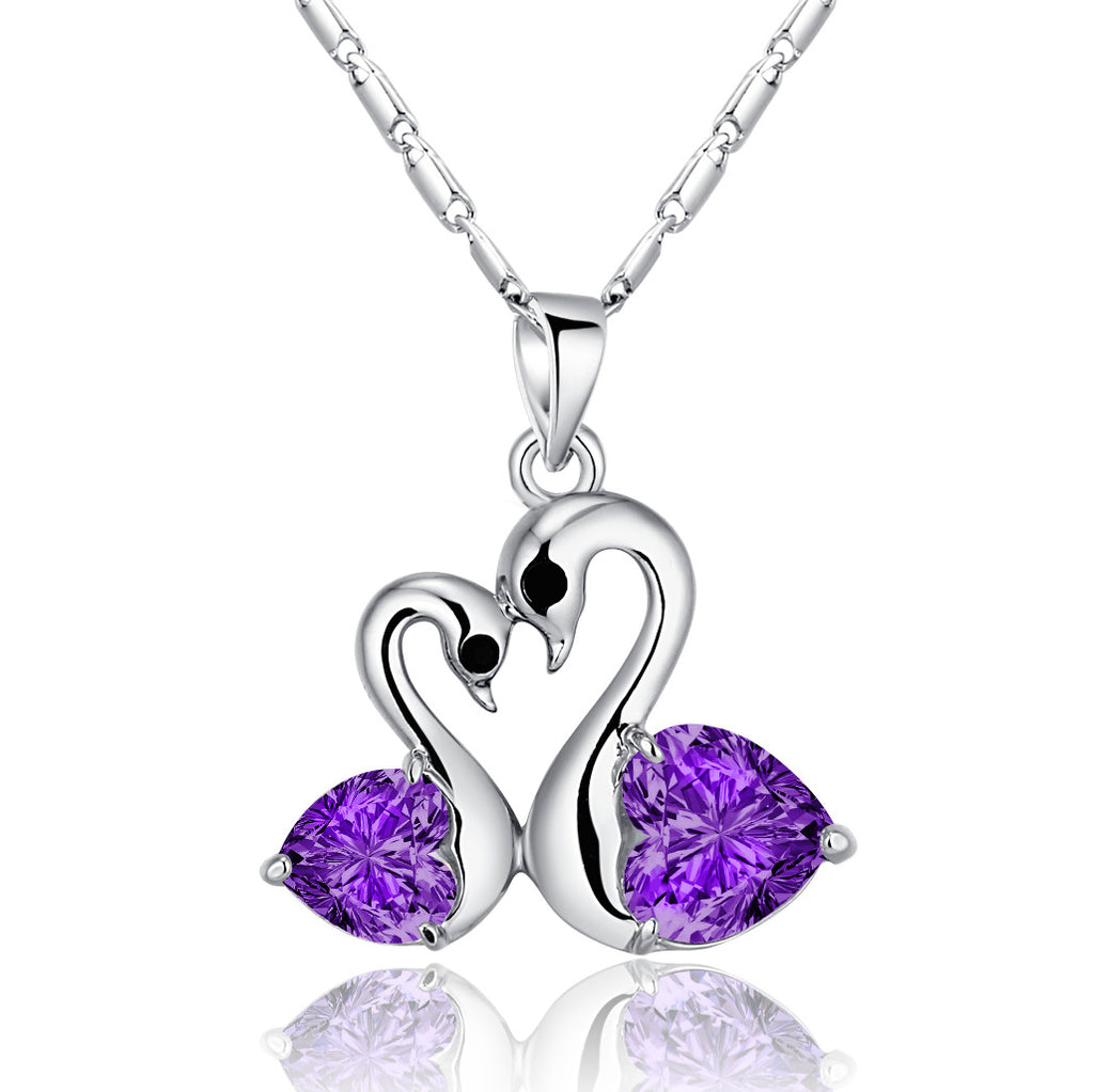 Heart Shaped Crystal Love Pair Silver Swans Necklace Purple