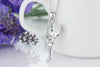 Winged Fairy Swarovski Elements Crystal Pendant Necklace - Clear