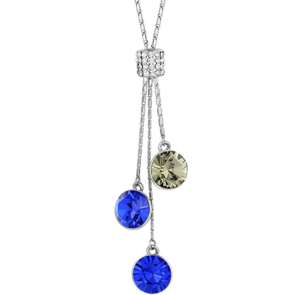 Crystal Tower Sparkle Rhinestone Necklace (Blue)