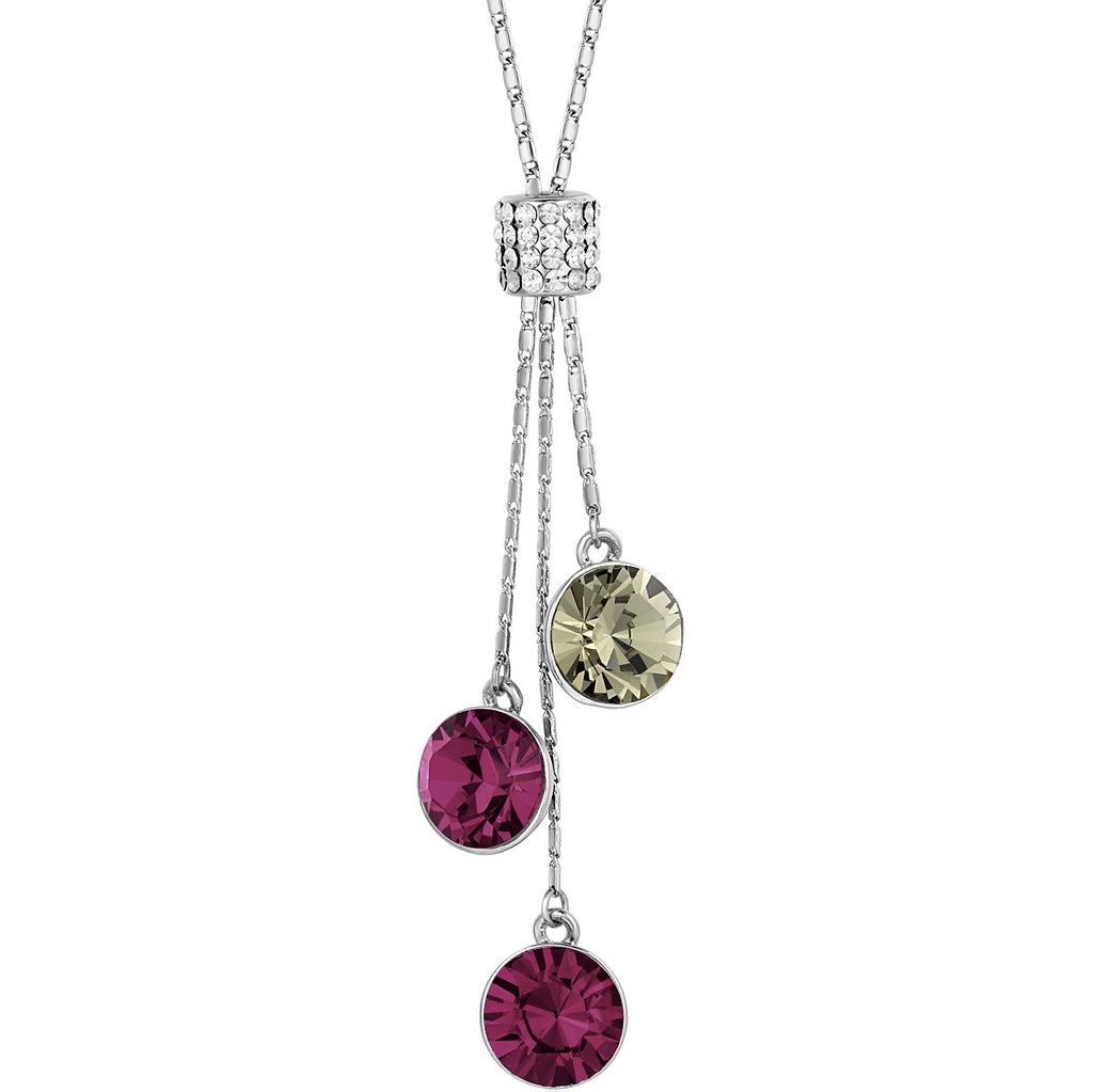 Crystal Tower Sparkle Rhinestone Necklace (Purple)