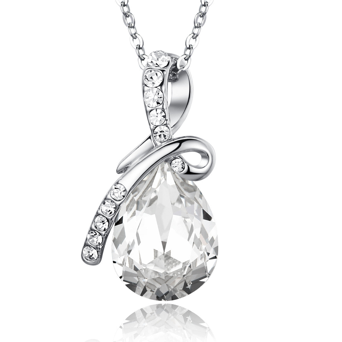 Eternal love teardrop swarovski elements crystal pendant necklace large crystal 18in chain aloadofball Gallery