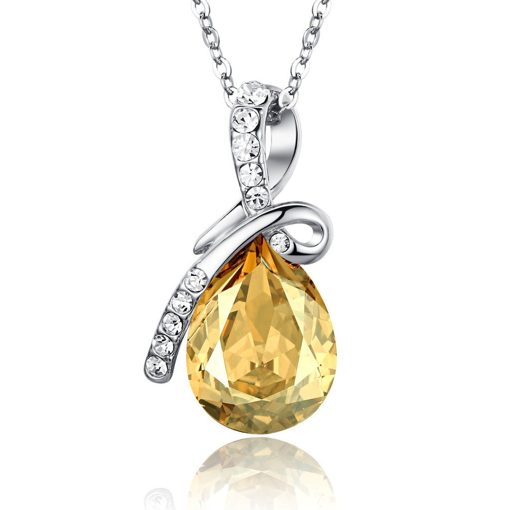 Eternal Love Teardrop Swarovski Elements Crystal Pendant Necklace - Yellow