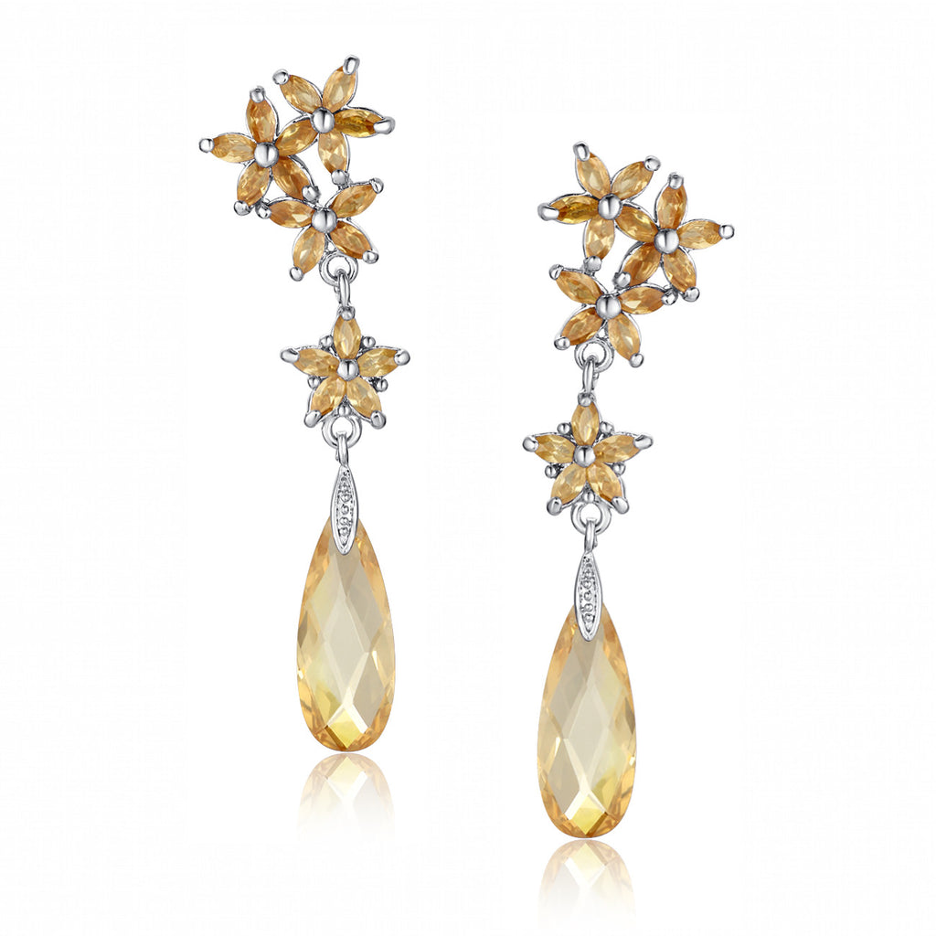 Flower Rain Drop Cubic Zirconia Earrings (Amber)