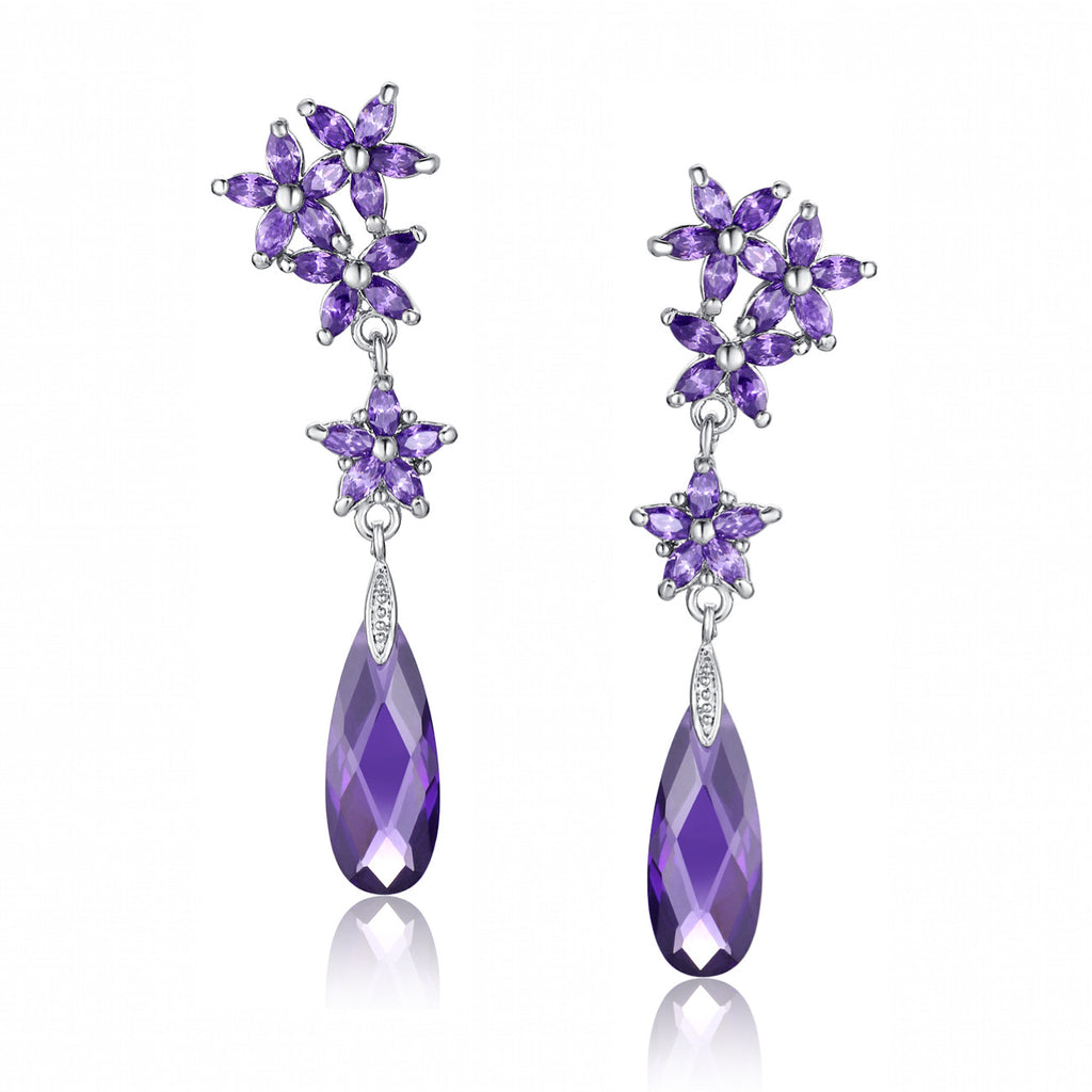 Flower Rain Drop Cubic Zirconia Earrings (Purple)