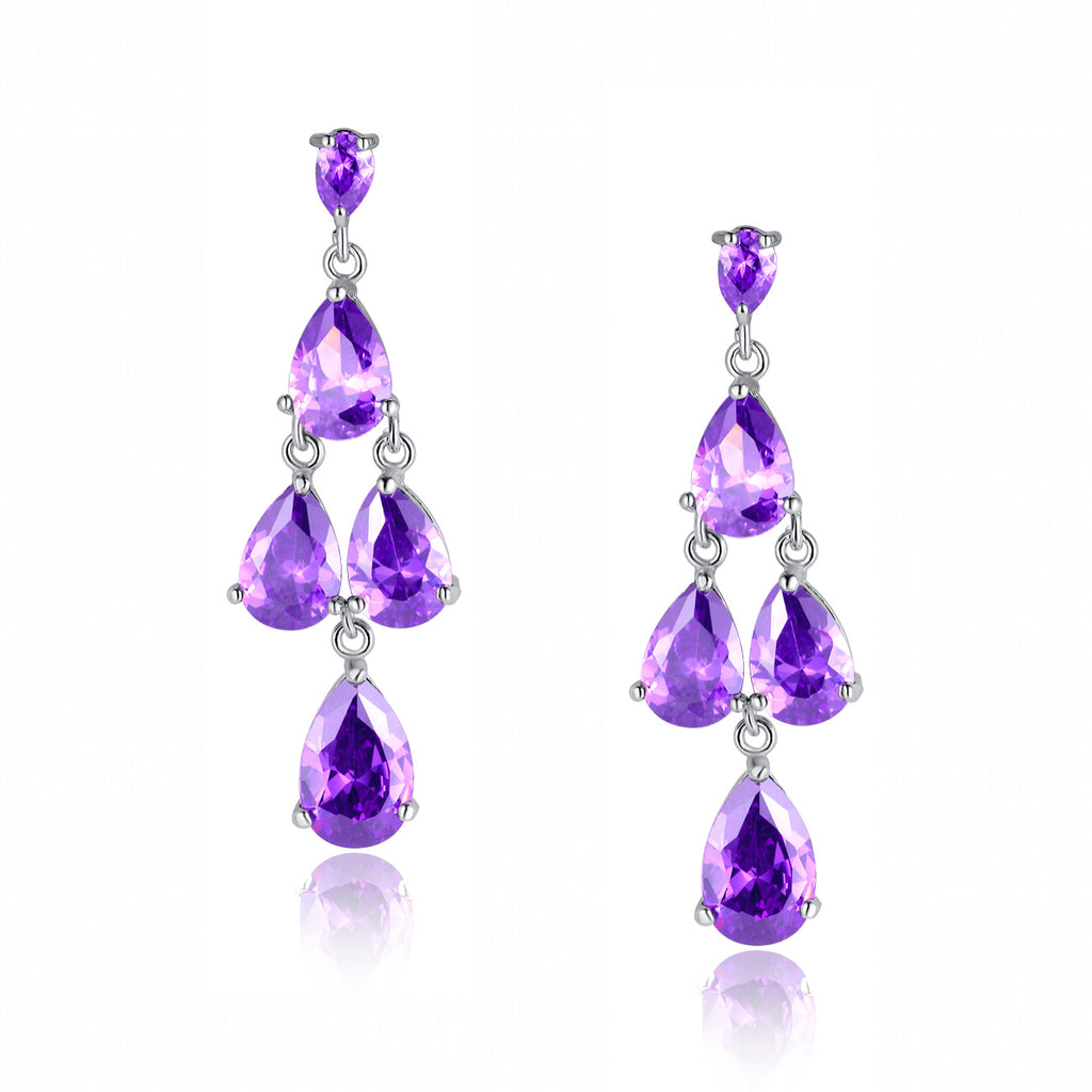 Queen Pear Drop Cubic Zirconia Earrings (Purple)