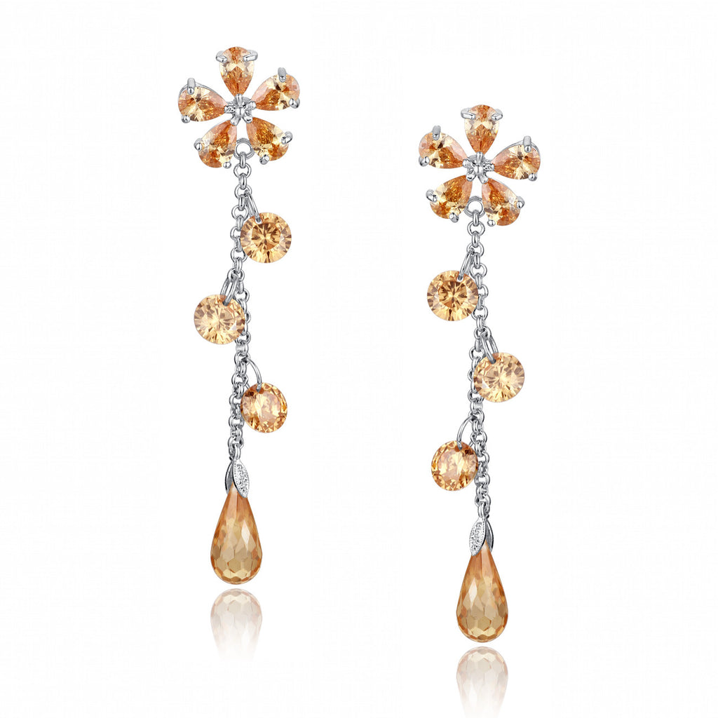 Cubic Zirconia Flower Drop Earrings (Amber)