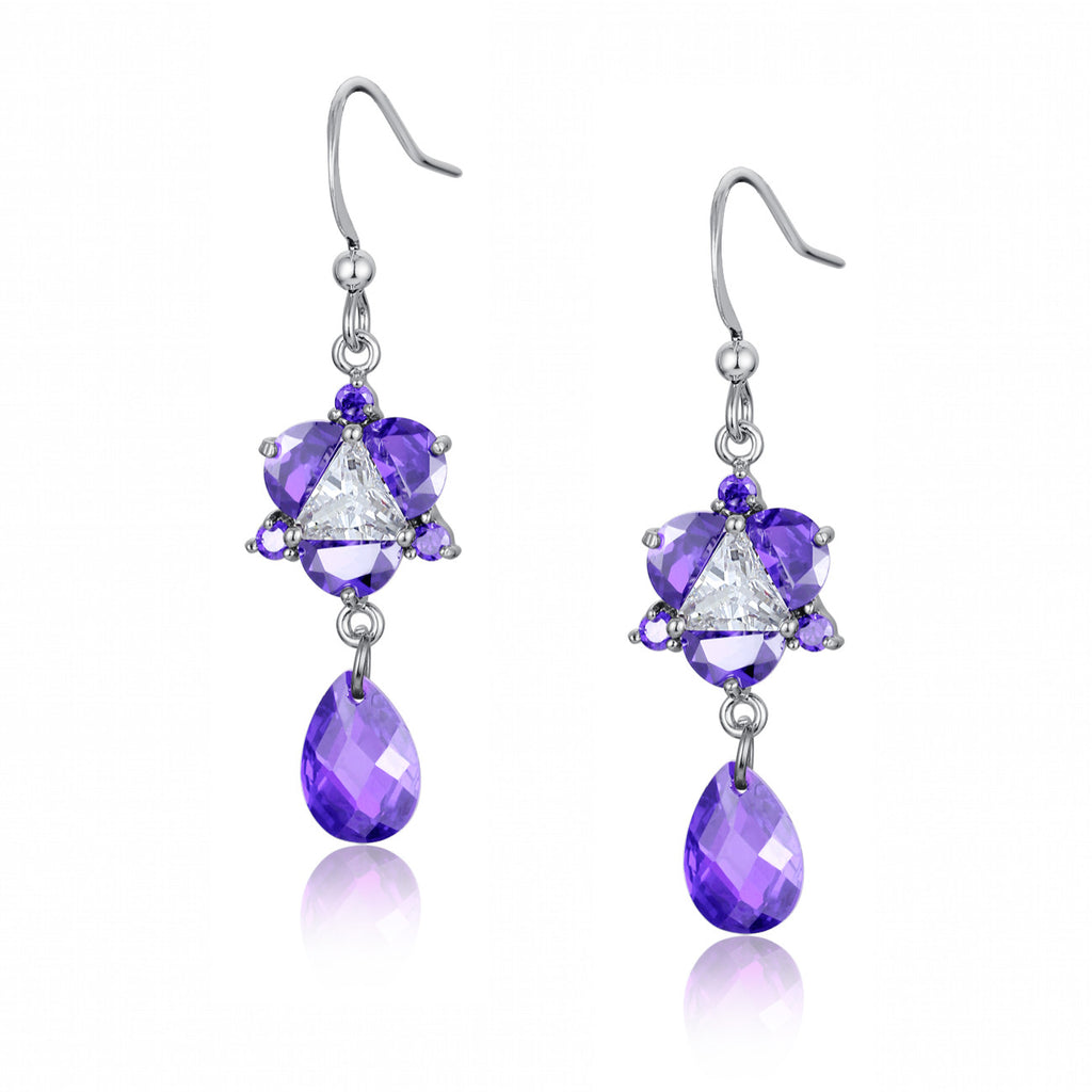Triangle and Teardrop Cubic Zirconia Earrings (Purple)
