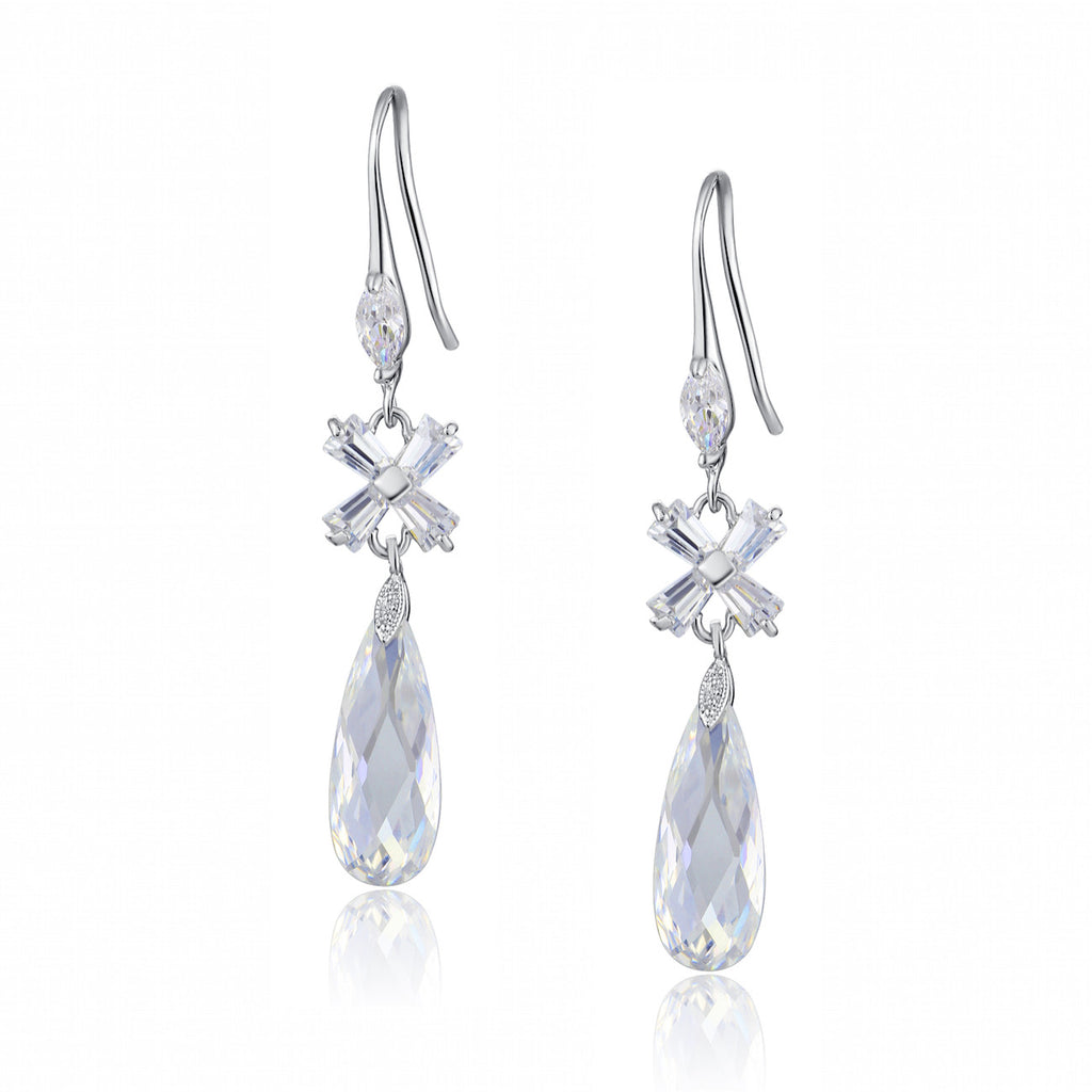 Teardrop and X-shaped Baguette Cubic Zirconia Earrings (Clear)