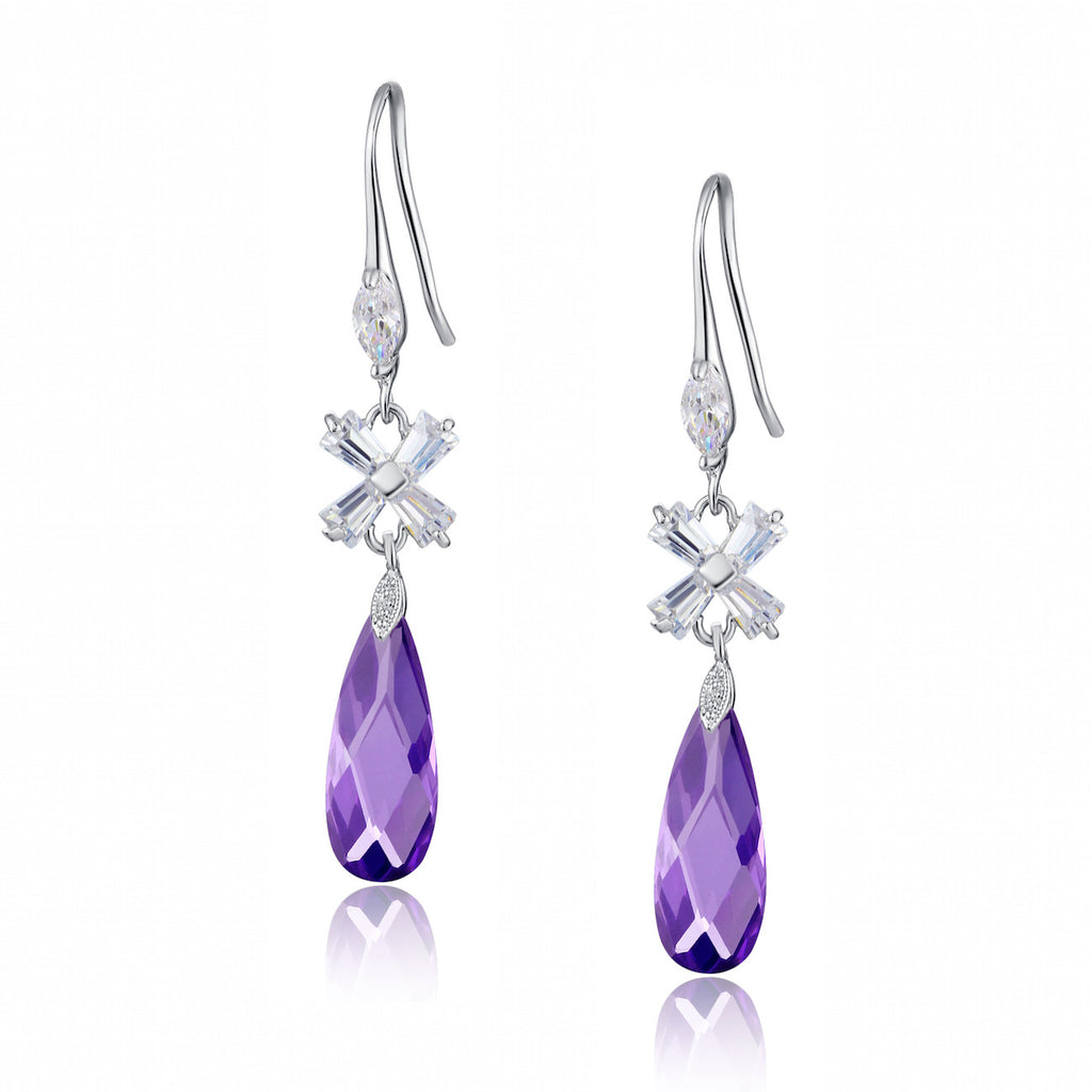 Teardrop and X-shaped Baguette Cubic Zirconia Earrings (Purple)