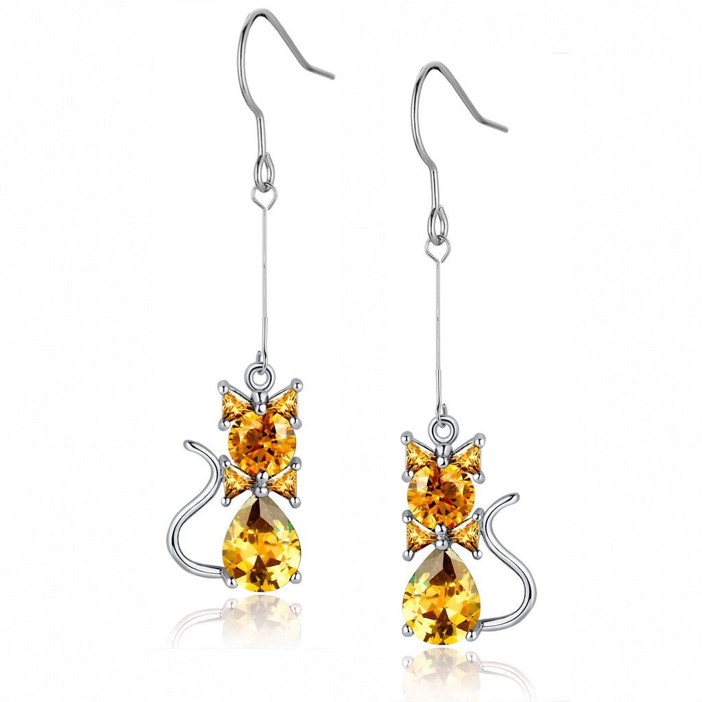 Cubic Zirconia Cat Drop Earrings (Amber)