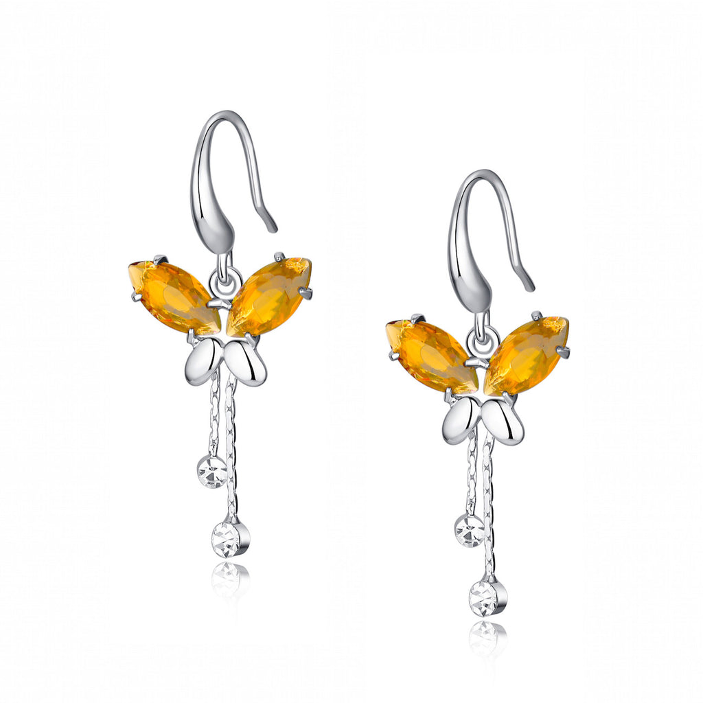 Cubic Zirconia Butterfly Breeze Earrings (amber)