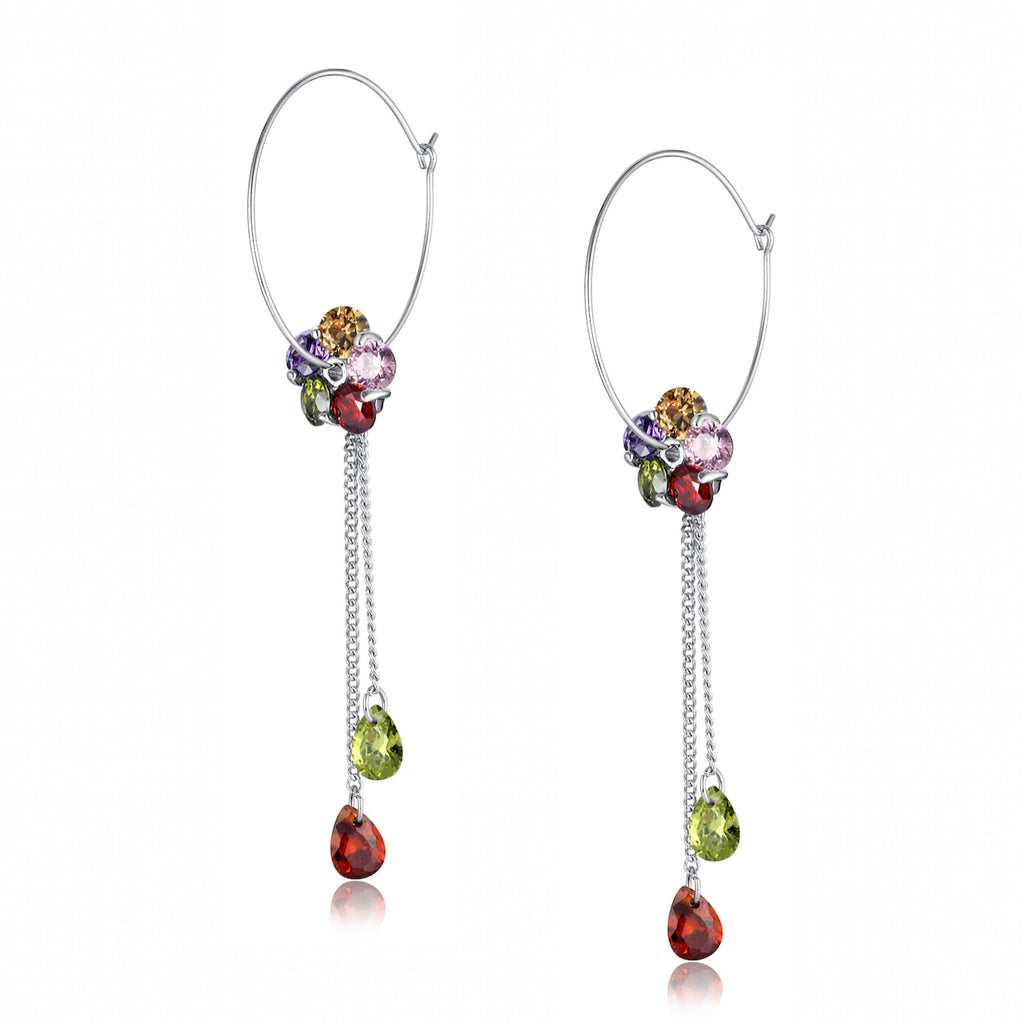 Multicolor Cubic Zirconia Flower Hoop Earrings