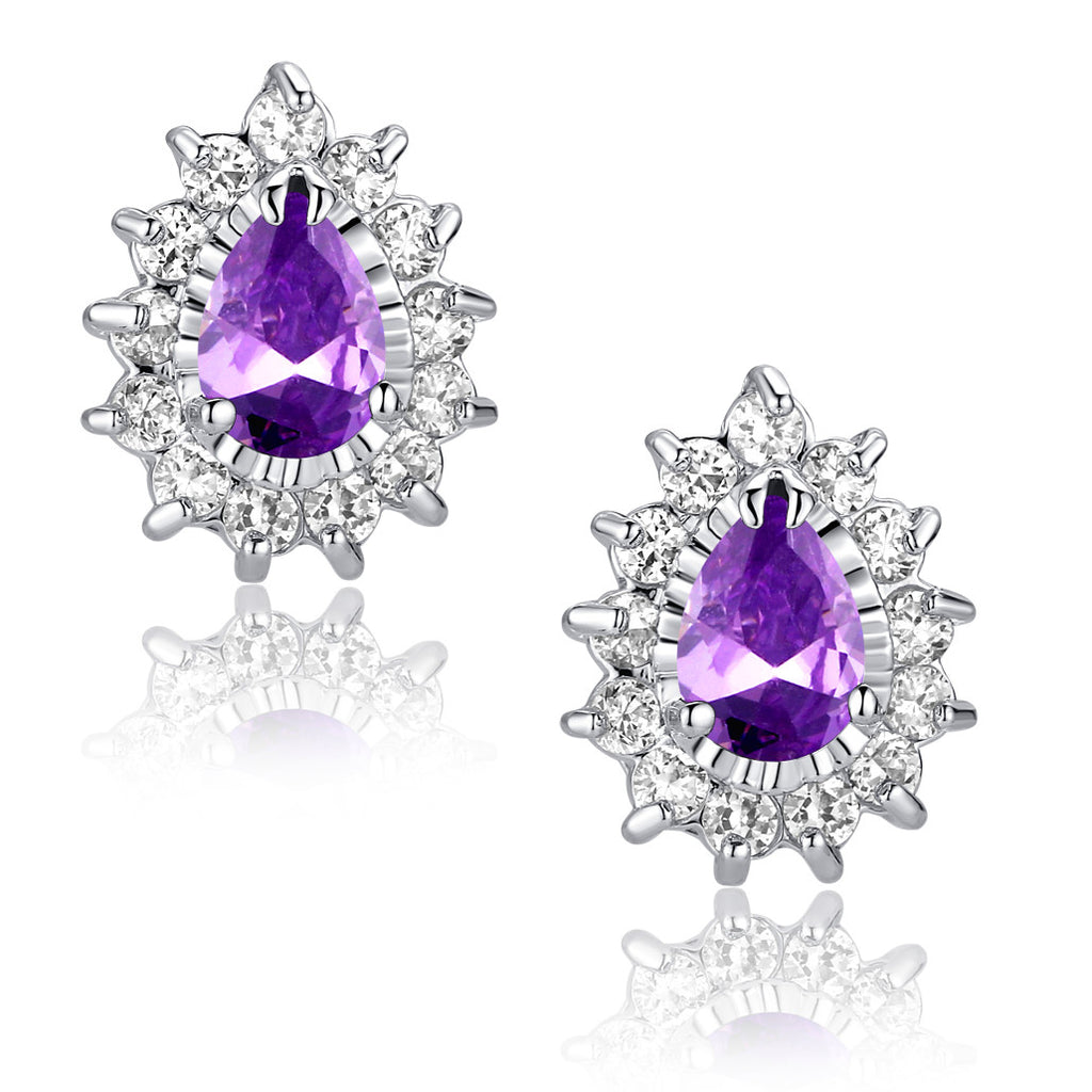 Teardrop Purple Amethyst Color Cubic Zirconia Stud Earrings