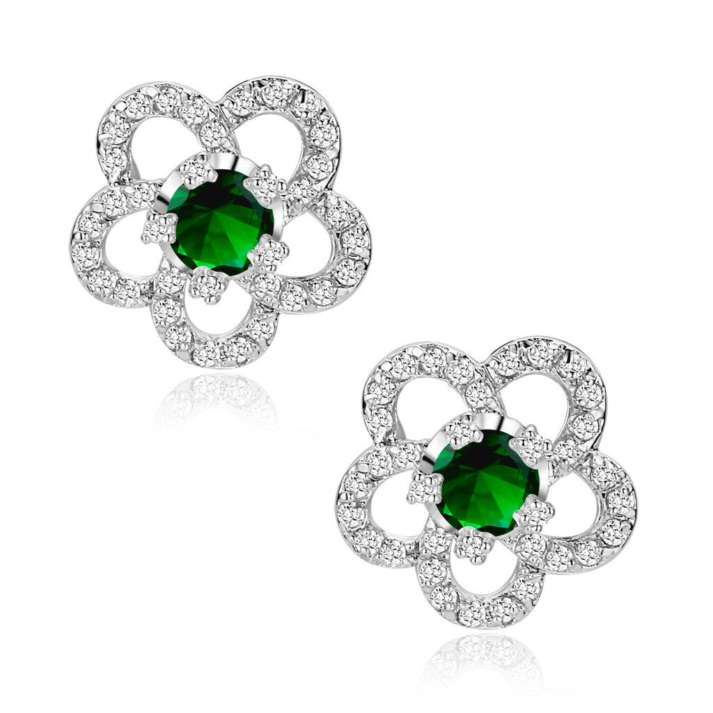 Flower W. Green Cubic Zirconia Stud Earrings