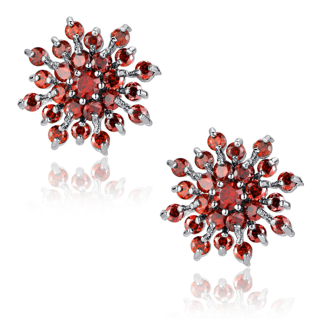 Snowflake W. Red Round Cubic Zirconia Stud Earrings