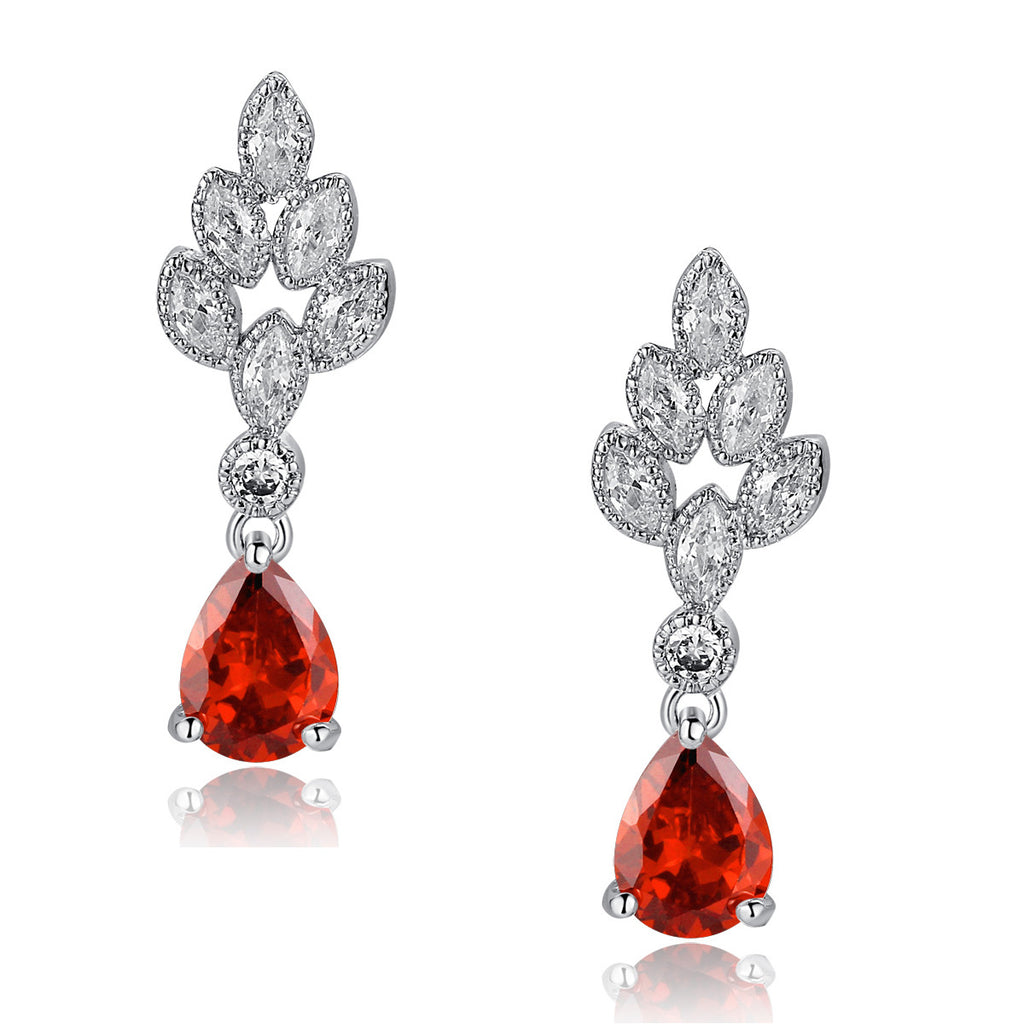 Teardrop and Marquise Cubic Zirconia Leaf Earrings (Red)