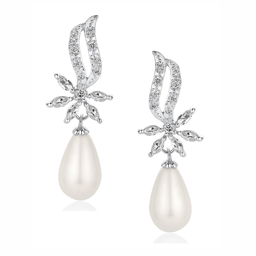 Flower W. Cubic Zirconia and Shell Pearl Earrings