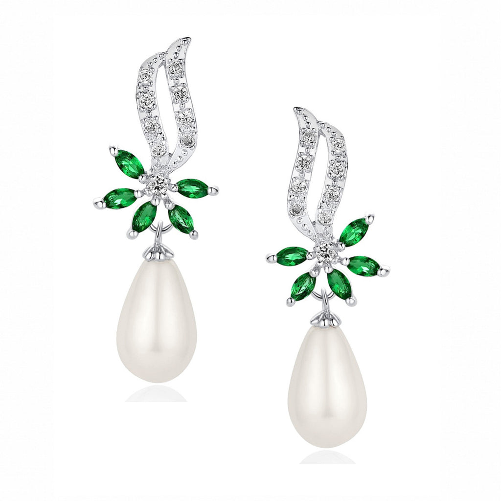 Flower W. Green Cubic Zirconia and Shell Pearl Earrings