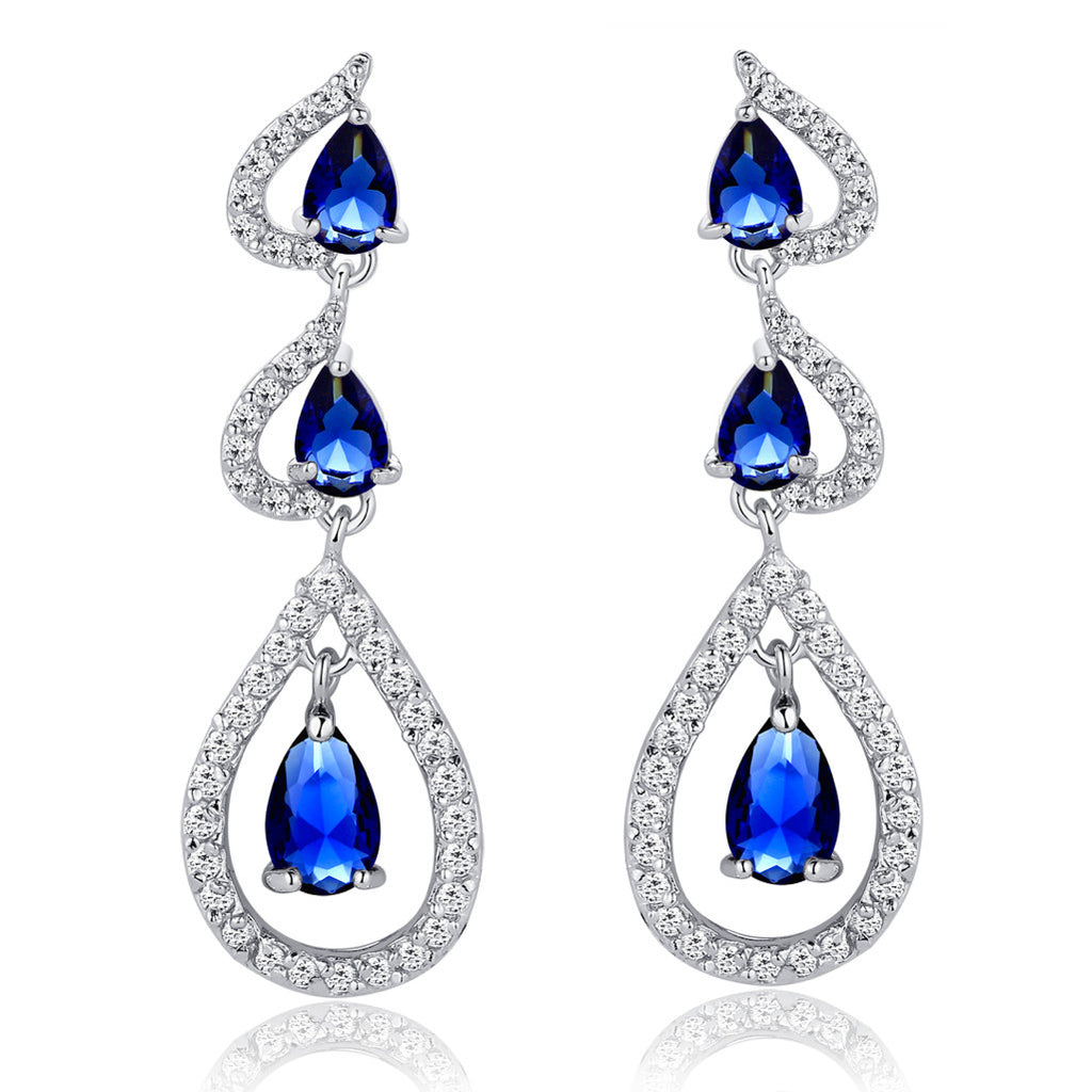 Joining Hearts W. Teardrop and Round Cubic Zirconia Chandelier Earrings - Blue