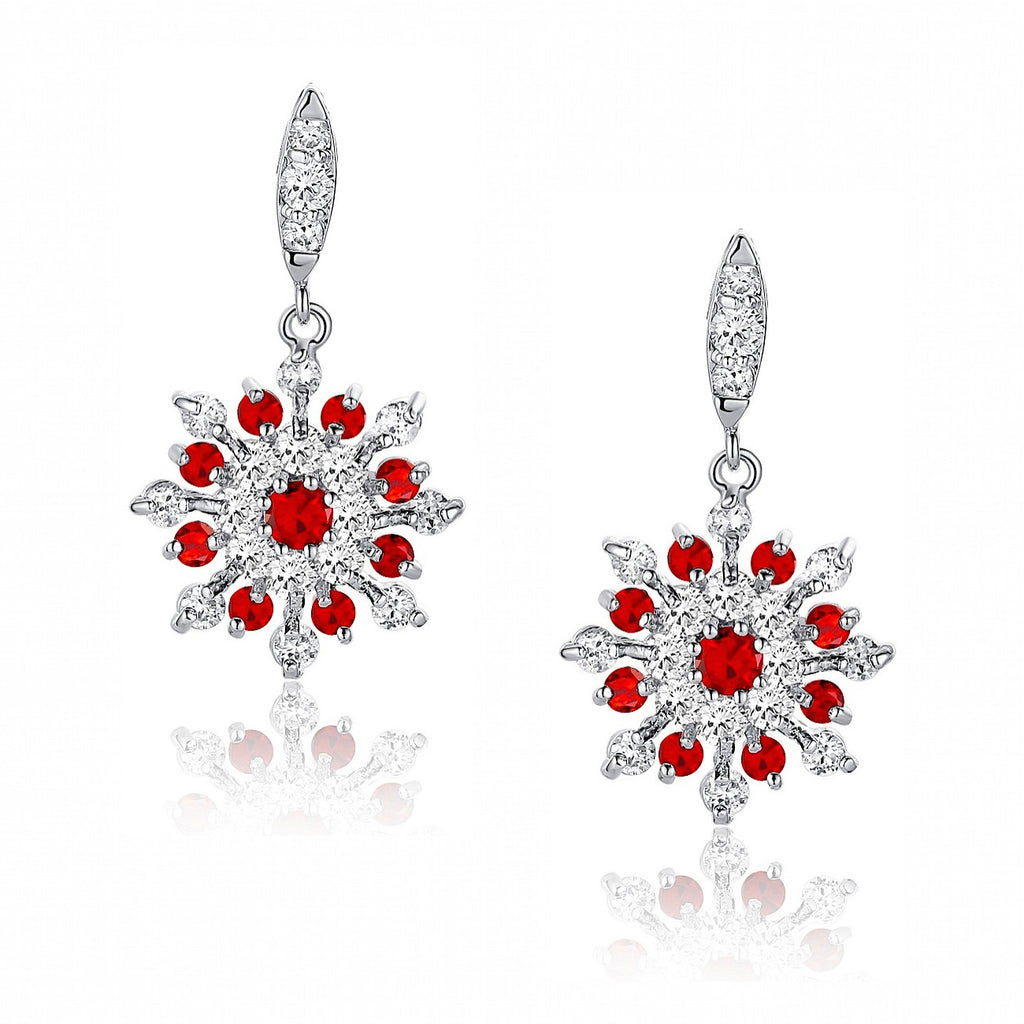 Snowflake W. Red and Clear Round Cubic Zirconia Earrings