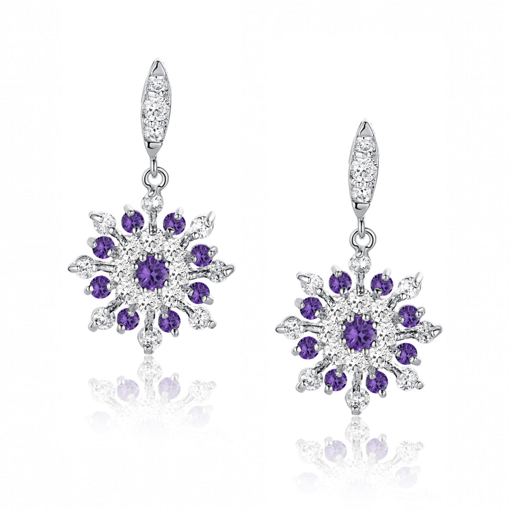 Snowflake W. Purple and Clear Round Cubic Zirconia Earrings