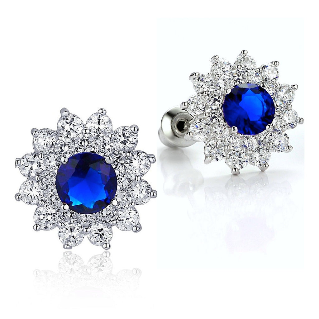 Sunflower W. Blue and Clear Round Cubic Zirconia Stud Earrings