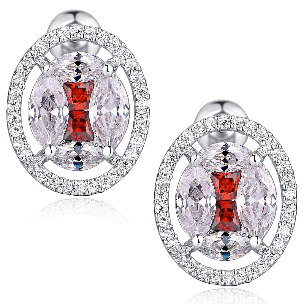 Oval Shape W. Red and Clear Cubic Zirconia Stud Earrings